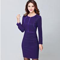 秋冬季新款女装韩版修身长袖连衣裙高端气质包臀加厚 厂家代发货