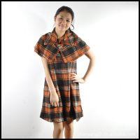 厂家直销连衣裙 配披肩无袖背心连衣裙 毛呢格 两件套秋冬连衣裙