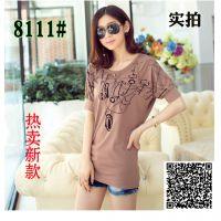 一件代发2014新款韩版圆领大码宽松蝙蝠袖印花t恤女J010