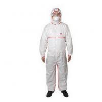 供应3M4565白色带帽红色胶条连体防护防喷溅工作服防化学防溅射防尘服批发