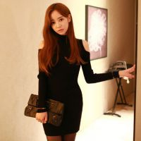 2014秋冬新款韩版中长款露肩长袖针织衫连衣裙女装修身打底包臀裙