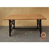 美式乡村复古铁艺餐桌实木做旧咖啡桌西式甜点桌酒店西餐桌批发