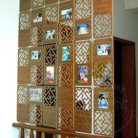 空间艺术半遮式雕花挂式屏风 立体相片墙 客厅书房玄关墙隔断屏风
