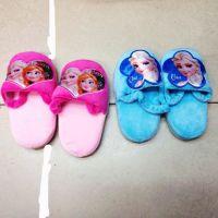 Frozen冰雪奇缘蓝色粉色毛绒拖鞋室内保暖鞋子7英寸 2款可选