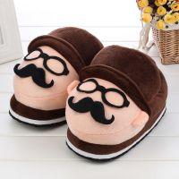 2014新款棉拖批发 卡通胡子毛绒全包跟棉鞋 可爱冬季地板拖鞋