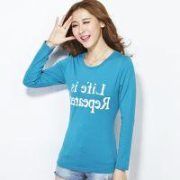 厂家批发女装新款2014秋季上衣长袖T恤女韩版修身显瘦字母打底衫