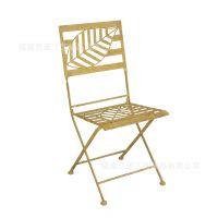 欧式铁艺桌椅 复古做旧铁艺餐椅户外阳台折叠椅子休闲靠背椅庭院