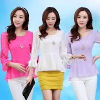 2014秋装新款韩版雪纺衫女长袖修身上衣性感打底衫OL时尚小衫潮