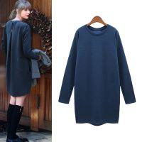 欧美品质大码女装秋冬装加绒加长加厚长袖T恤长款打底衫t恤裙