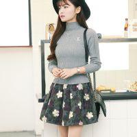 冬季新款韩版中长款修身针织碎花连衣裙半高领长袖套头毛衣假两件