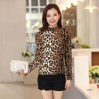 2014秋冬新款豹纹长袖T恤女韩版高领打底衫时尚性感打底T恤