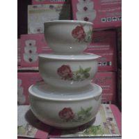 厂家批发 潮州陶瓷保鲜碗 保鲜碗3件套 骨质瓷保鲜碗