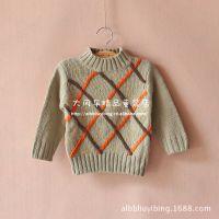 外贸童装 男童方格毛线打底衫 微领超柔软毛线衫 秋童线衣