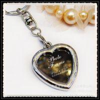 欧美风金属钥匙扣 创意心形相框钥匙扣 镶钻照片钥匙扣挂件挂饰