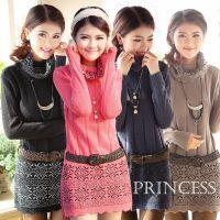 厂家直销2014秋冬韩版品牌 中长款打底毛衣针织连衣裙一件代发
