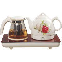 供应青花瓷电热水壶 西安热水壶礼品 青花瓷玻璃面板电热水壶