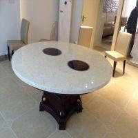 火锅桌椅 高档人造大理石火锅圆桌 开圆孔 耐用实惠 可定做