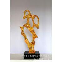 透明玻璃钢雕塑摆件 彩色琉璃玻璃钢艺术摆件上海商务酒店摆件