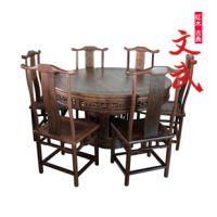 仙作红木餐桌/鸡翅木餐厅家具/实木圆形餐台/中式仿古典圆形饭桌