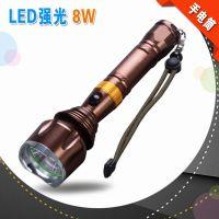 铝合金强光LED户外手电筒 锂电池充电聚光500米远射 LED手电 TS-8