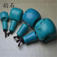 天然蓝绿松石藏式三通佛头佛塔 湖北绿松石藏式配件 星月金刚菩提