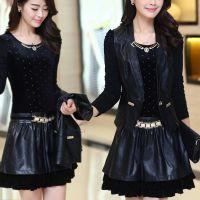 2014秋冬新款 韩版修身显瘦PU皮拼接长袖两件套打底裙 连衣裙