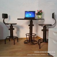美式乡村复古铁艺实木咖啡餐厅桌椅 户外休闲 酒吧桌椅组合吧台椅