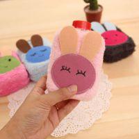 8006 韩版小清新毛绒立体热水袋暖手壶 便携注水式小兔子暖手袋