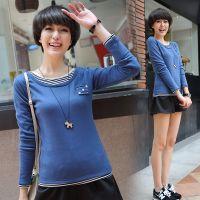 2014秋季新款 加绒加厚假两件舒适长袖T恤 纯棉打底衫女