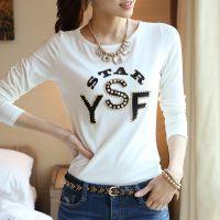 2014秋装新款韩版时尚修身显瘦字母烫钻打底衫纯棉长袖t恤  女