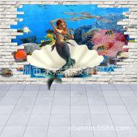 视觉3D大型壁画 儿童房间装饰壁画 卡通海底世界美人鱼背景墙画
