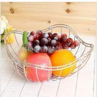 镀铬铁线圆形水果篮, 家用金属制品,铁线水果篮,
