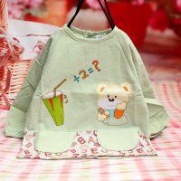 秋冬新款 婴幼儿童灯芯绒防水罩衣 小熊吃饭衣 反穿衣 萌宝儿1504