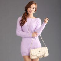 厂家批发新款女式长毛貂绒衫中长款套头纯貂绒衫欧洲站加厚打底衫