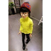 2014秋装新款 女童 儿童童装 糖果色高领长袖打底衫外贸童装