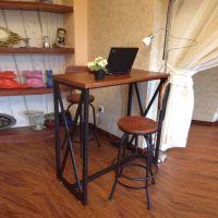 批发美式铁艺学生酒吧办公桌椅 实木家用餐桌椅组合 咖啡餐厅桌椅