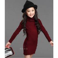 秋冬新品女童羊绒针织百搭蕾丝拼接毛衣 儿童长款高领打底衫K605