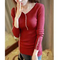 秋季新款韩版多色修身多纽扣打底衫 女士针织衫毛衣 纯色女毛衣