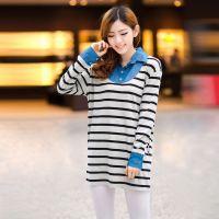 2013秋装新款韩版条纹假两件中长款长袖衬衫打底衫