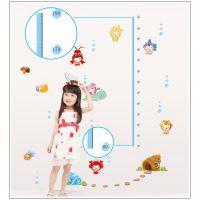 墙贴厂家 墙贴批发 AY7088 海底宝宝身高尺 PVC透明 儿童墙纸墙贴