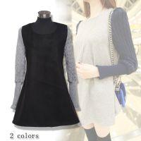 2013秋冬装 新款女装韩版E3006甜美针织呢料拼接宽松长袖连衣裙