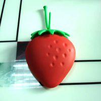 创意草莓迷你你硅胶小钥匙包 卡包 钥匙扣 可印LOGO