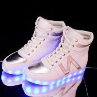 工厂供应生产真皮LED发光鞋蓝牙控制来电闪板鞋发光球鞋