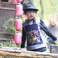 丹凤创意:童装--棉马甲/单马甲双款-手织布绣花款-两色-亲子装