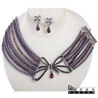 ebay 速卖通货源 紫色小珍珠 耳环项链套装 婚纱配饰 一件代发