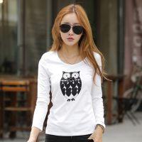 衣服批发 韩版秋冬女款长袖打底衫上衣 纯棉印花t恤小衫工厂货源