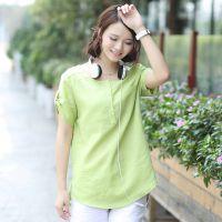 夏装新款2014女装韩版款式衬衣中长款打底衫衬衫女短袖上衣J675