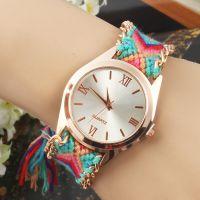 速卖通外贸爆款 个性时尚手工编织彩色表带石英手链表 女士手表
