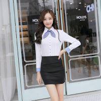 职场丽人 2014秋季新款 韩版潮大码职业女式长袖衬衣上衣 送领结