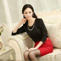 秋冬韩国新款 OL气质女士修身显瘦泡泡袖圆领长袖打底衫t恤女
